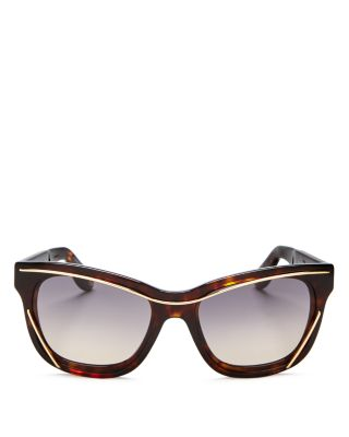 Givenchy Wire Square Sunglasses, 55mm In Tortoise/gold/blue Gradient