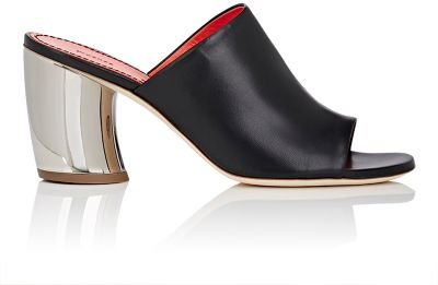 Proenza Schouler Curved Metallic Heel Mules In Black