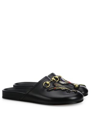 c669c695cae8 Gucci River Leather Slide Mules With Patch