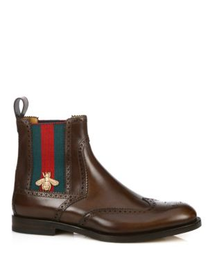 Gucci Strand Web Chelsea Boots In Brown