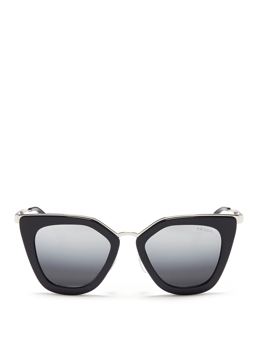 b132fe9a39abd ... new zealand prada metal bridge cat eye acetate sunglasses in black gray  solid fd49e 12225