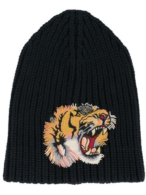d887e1d3c6d Gucci Embroidered Tiger AppliquÉ Wool Beanie Hat In Navy