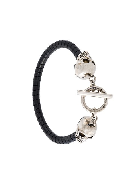 Alexander Mcqueen Skull And Twisted-leather Bracelet In Black