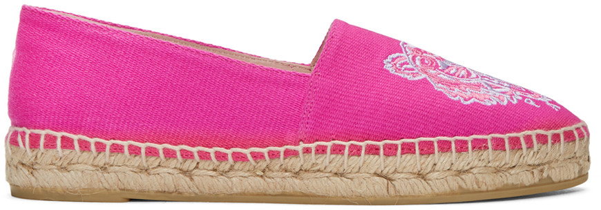 Kenzo Fuchsia Fonce Cotton Tiger Espadrille In Pink