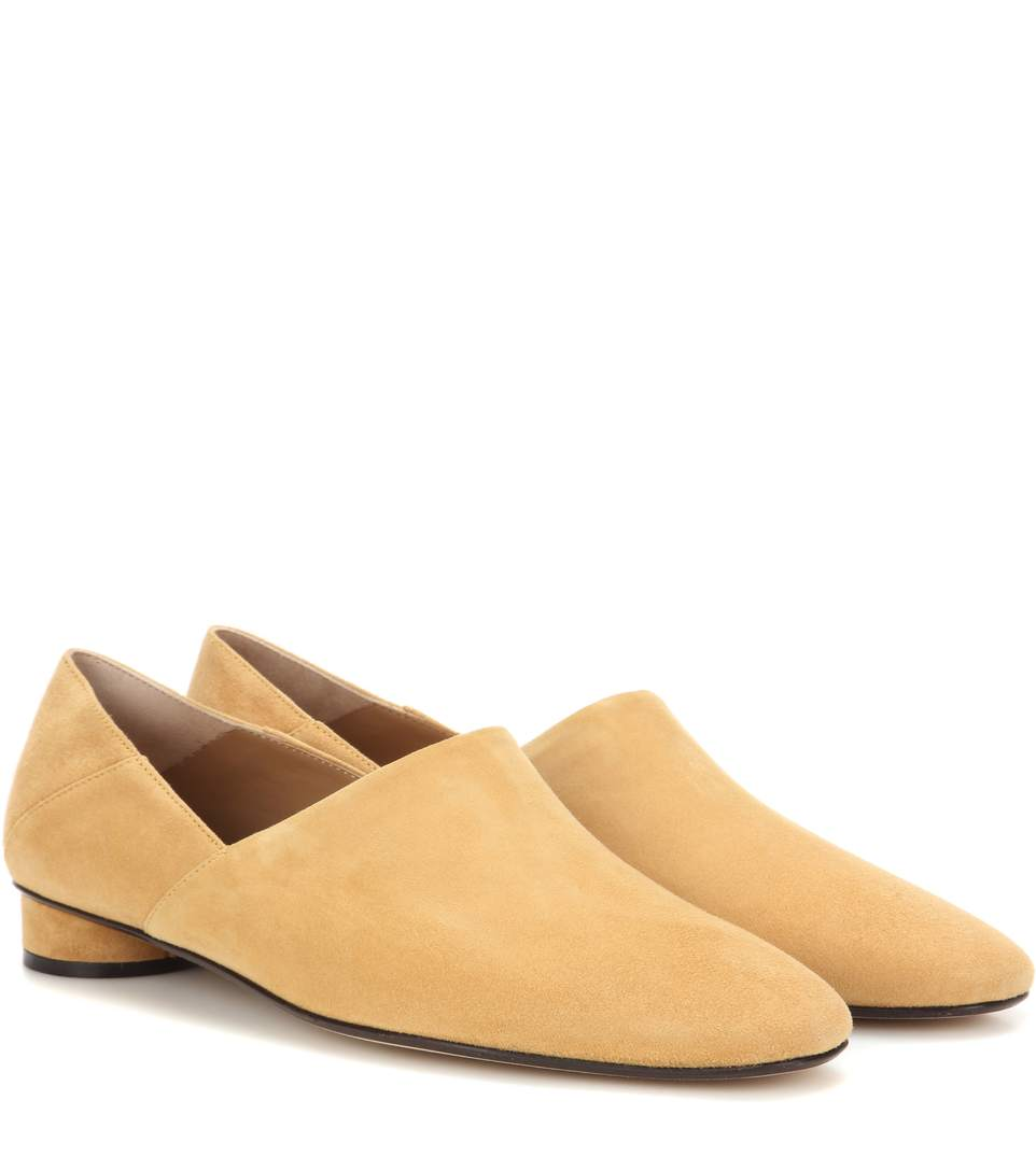 351eaf73839 The Row Noelle Collapsible-Heel Suede Loafers In Beige