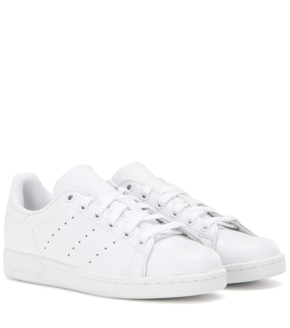 on sale 96d7d 926ac Adidas Originals Stan Smith Leather Sneakers In White