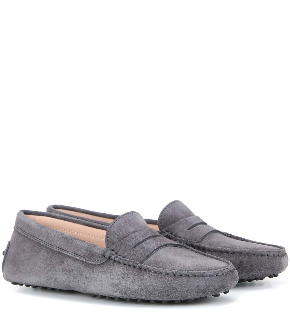 Tod's Gommini Suede Penny-keeper Driver In Grey