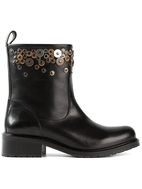 Dsquared2 Embellished Biker Boots In Black