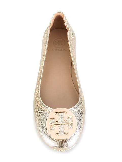 7ea8de546a0a9d Tory Burch Minnie Travel Spark Gold Smooth Metallic Leather Ballet Flat