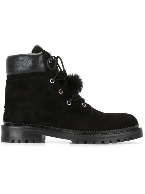 aa8e13b61cf4 Jimmy Choo Elba Flat Black Suede Boots With Rabbit Fur Lining