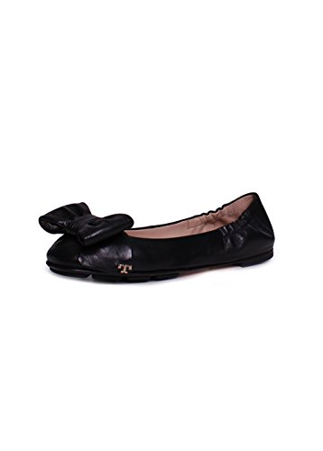 4f831aa8bee Tory Burch Divine Bow Leather Driver Ballet Flats In Black