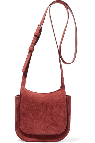 The Row Hunting 7 Suede Crossbody Bag, Dark Red