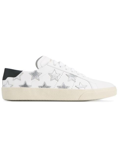 Saint Laurent Court Classic Appliquéd Metallic-trimmed Leather Sneakers In White