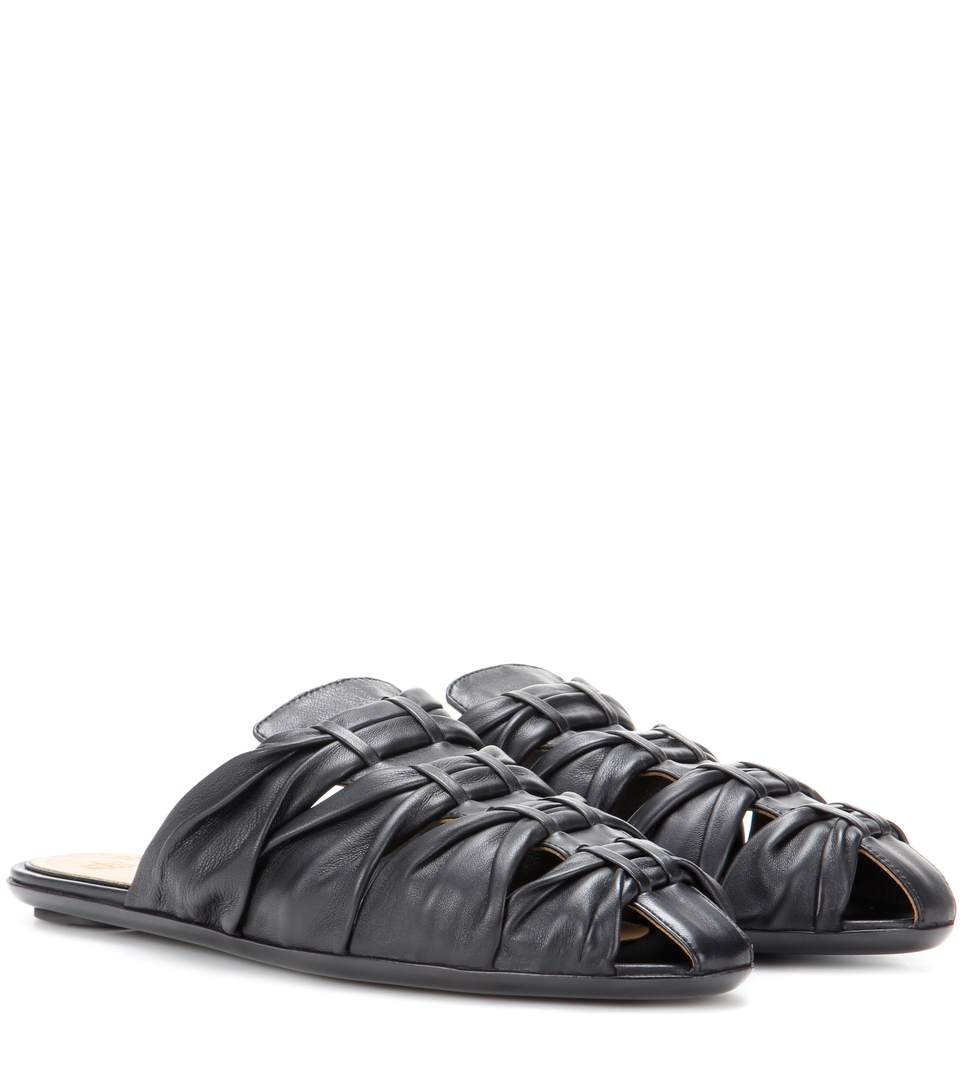 The Row 'capri' Knotted Nappa Leather Slide Sandals In Black