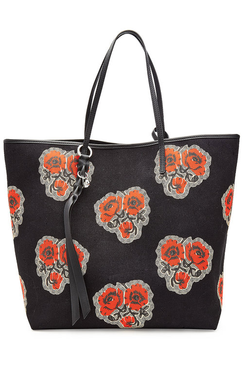 e929c9df7d Alexander Mcqueen Canvas Tote Bag With Leather Details In Multicolored