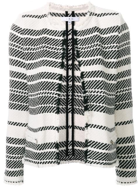 Iro Woman Zlata Striped Cotton-blend Tweed Jacket Ecru In Black