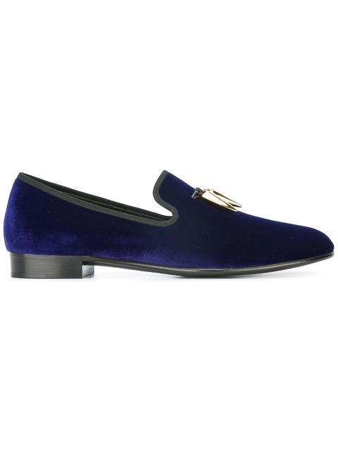0651f6c1988a1 Giuseppe Zanotti Men's Velvet Formal Loafer With Golden Horns In Blue