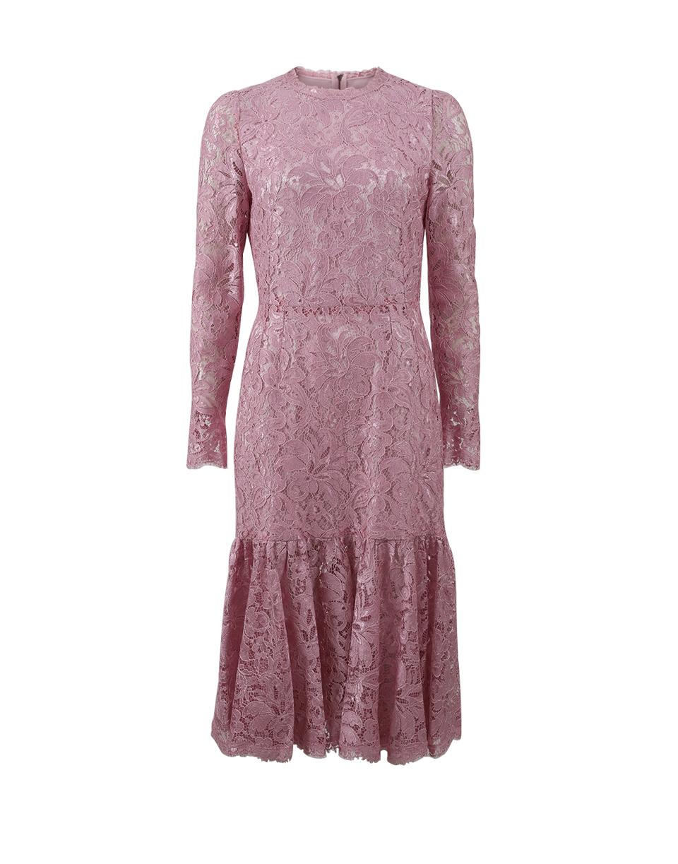 69dee665901a Dolce & Gabbana Long-Sleeve Lace Flounce-Hem Dress, Light Pink, Rose ...