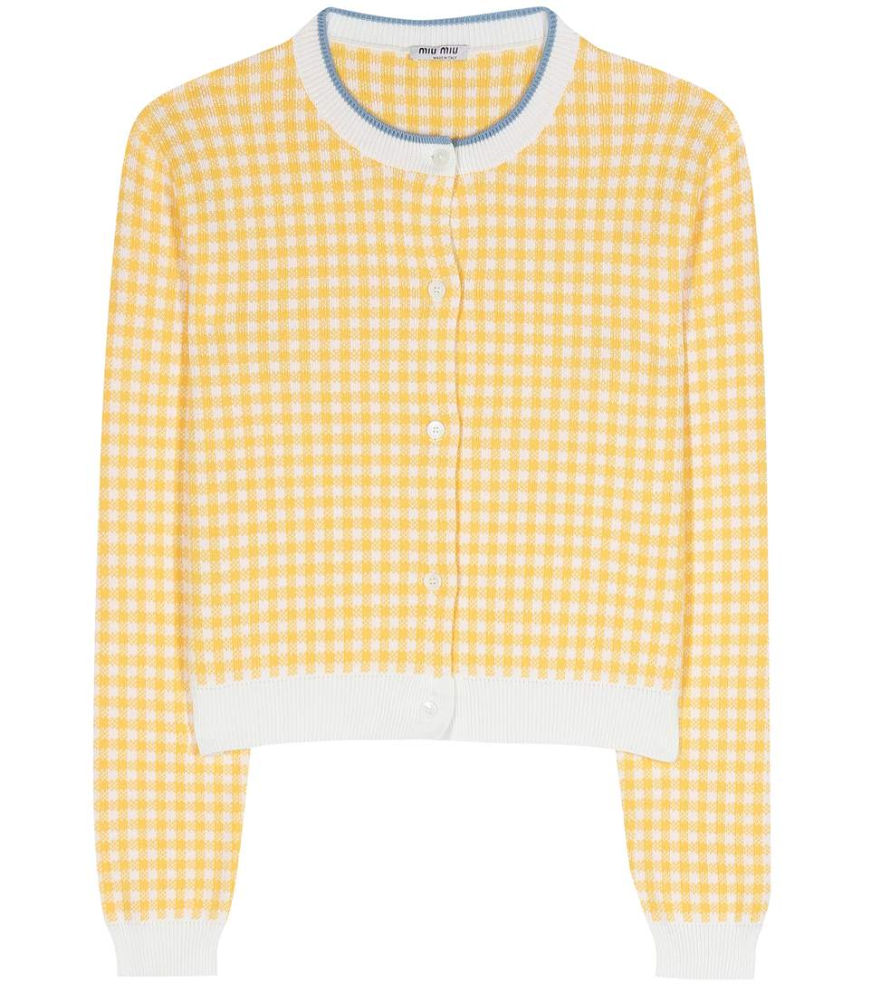Cropped Cotton Houndstooth MimosaModesens Miu Cardigan In dWCBrxQoe