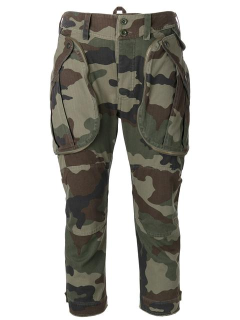 Faith Connexion Cotton Camouflage Cropped Cargo Pants In Army Khaki
