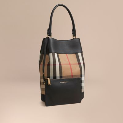 ef447233217a Burberry The Bucket Bag In House Check And Leather In Black