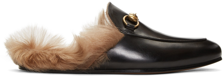 3224a2b9322 Gucci Princetown Horsebit Shearling-Lined Leather Backless Loafers In Black