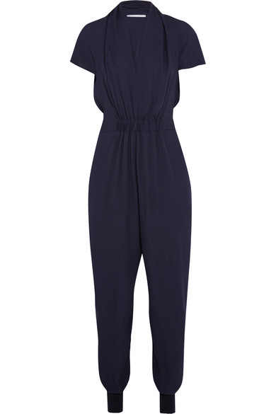 Stella Mccartney Woman Aio Silk Crepe De Chine Jumpsuit Midnight Blue