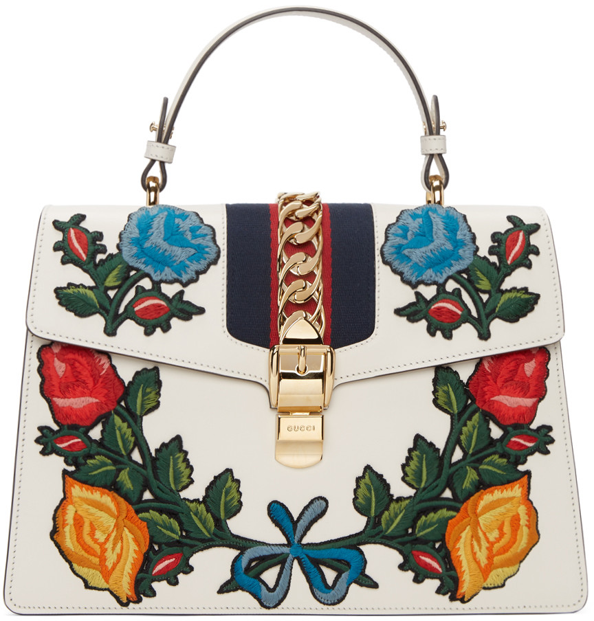 68f2969f681 Gucci Sylvie Embroidered Leather Top-Handle Satchel Bag