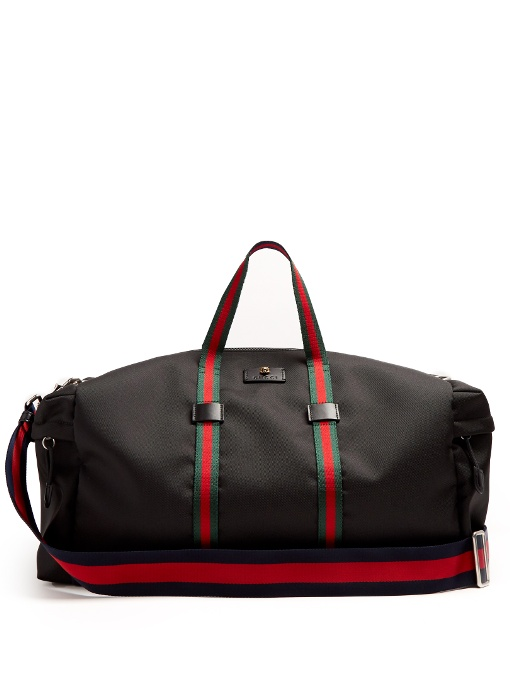db868d51a4fa23 Gucci Men'S Techpack Canvas Striped Webbing Duffle Bag In Black ...