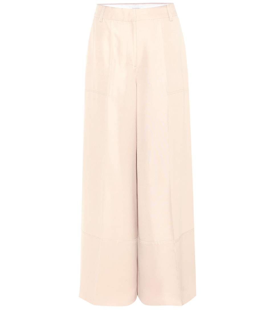 Valentino Wide-Leg Silk Trousers In Beige