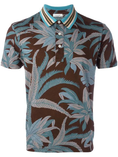 Valentino Tropical Print Polo Shirt In Multicolor