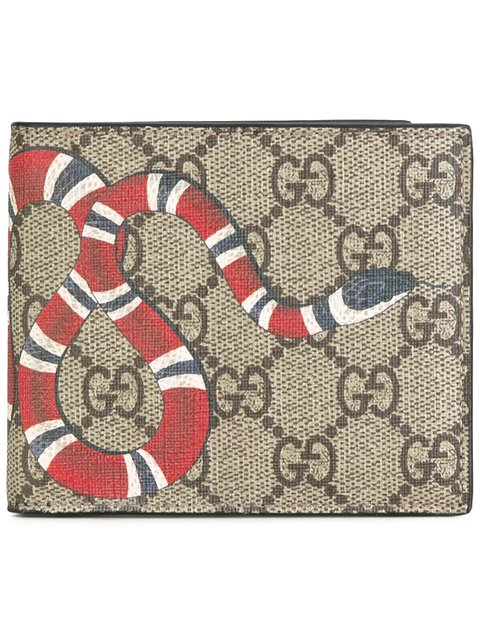 307cc86cab62 Gucci Bestiary Snake-Print Gg Supreme Wallet In Neutrals