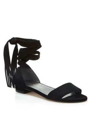 20170ef0a7a3 Stuart Weitzman Corbata Suede Ankle-Wrap Sandal In Black