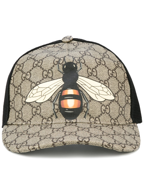 Gucci Bee Coated Gg Canvas   Mesh Baseball Hat 36eb02d6499