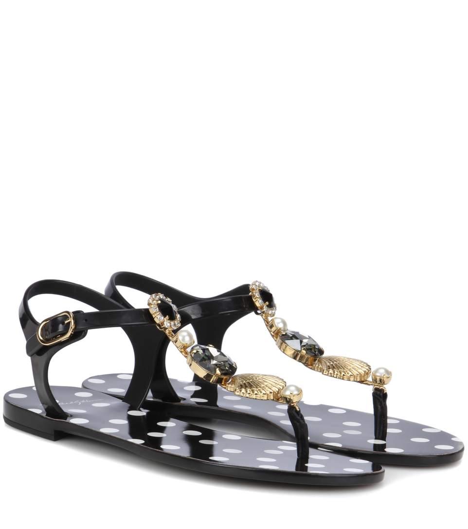 9993a84ff093 Dolce   Gabbana Crystal Thong Beachwear Sandals In Black