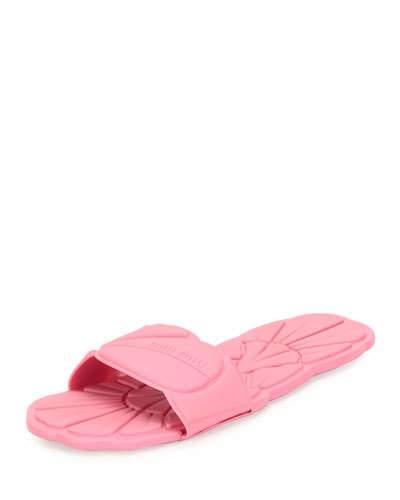 42f969913f1e21 Miu Miu Floral Rubber One-Band Flat Sport Sandal In Navy