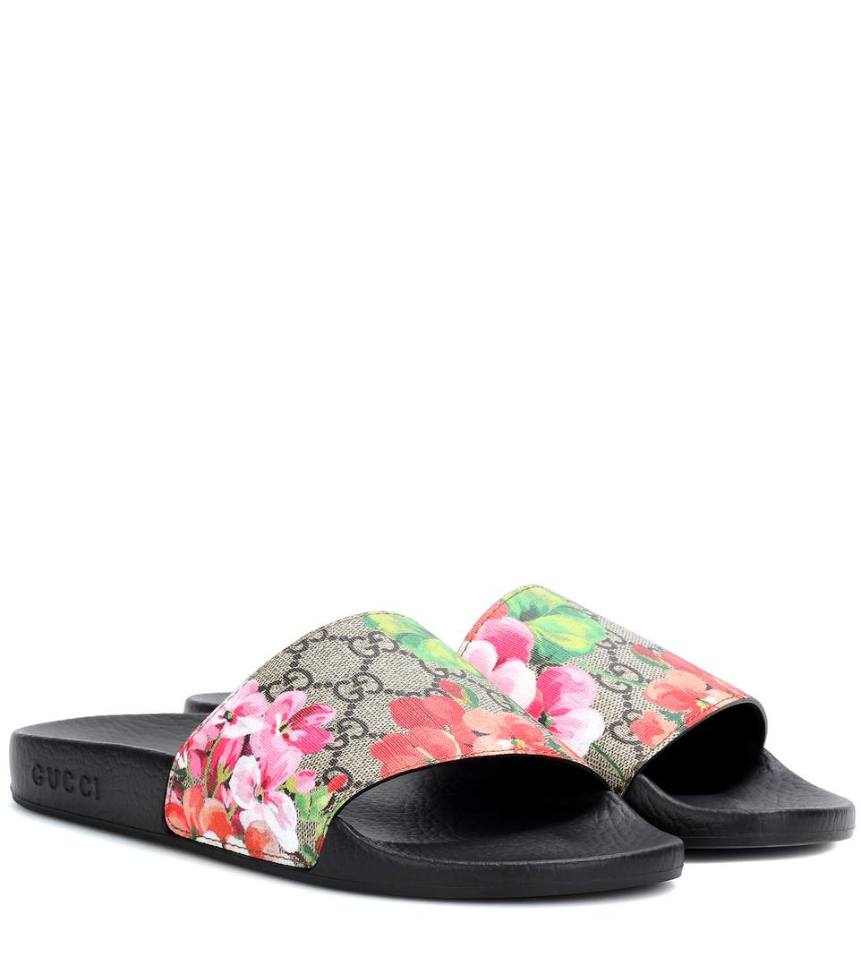 ba9d665cd339a Gucci Women S Slippers Sandals St. Blooms Place Flowers Gg Supreme In Beige    Pink