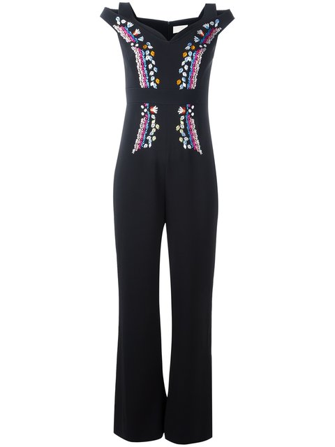Peter Pilotto Embroidered CrÊpe Jumpsuit In Llack