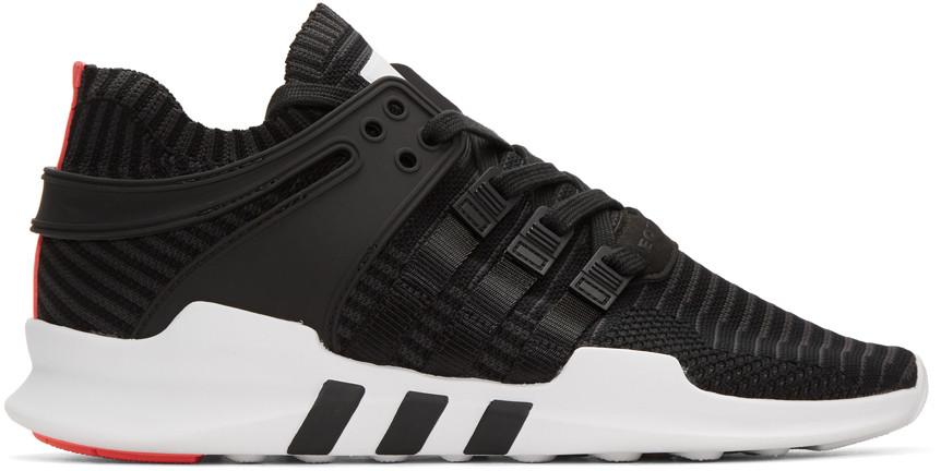 e6d722fa6050 Adidas Originals Eqt Support Adv Rubber-Trimmed Primeknit Sneakers In Black