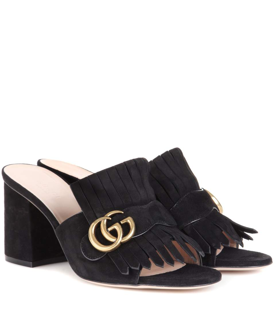 99a8ee1ca6b Gucci Marmont Fringed Logo-Embellished Suede Mules In Black