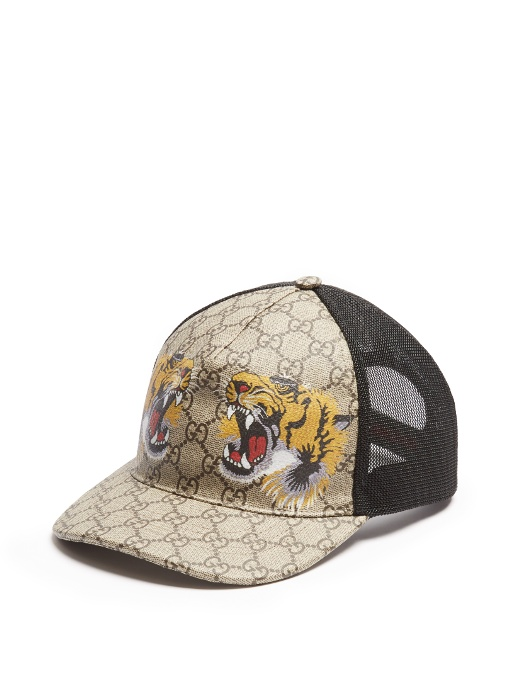 Gucci Tigers Print Gg Supreme Baseball Hat Dark Brown Black In 38ee2334355