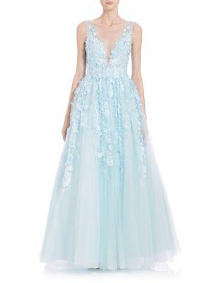 3daedaffbb67 Basix Black Label Floral AppliquÉ Gown In Soft Blue