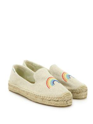 a26526226a3 Soludos X Ashkahn Women S Rainbow Embroidered Platform Espadrille Smoking  Slippers In Sand