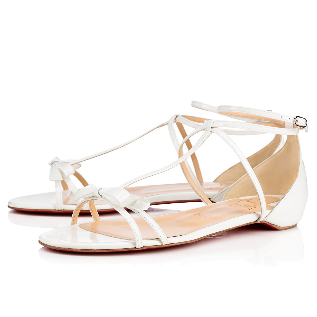 c0948d0d2bf0 Christian Louboutin Blakissima Patent Bow Flat Red Sole Sandal