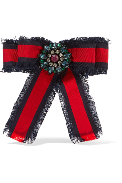 774b2668478 Gucci Frayed Cotton-Grosgrain And Crystal Brooch In 8034 Multi ...