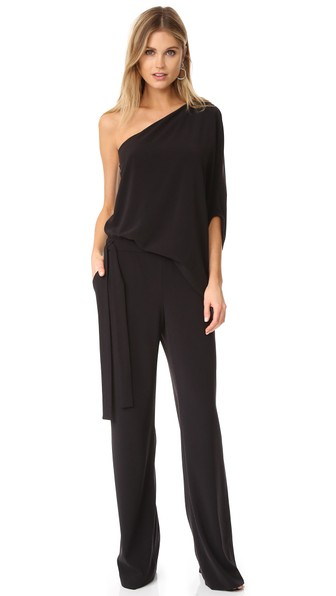 43ff9ce4423 Halston Heritage One-Shoulder Draped Wide-Leg Jumpsuit In Black ...