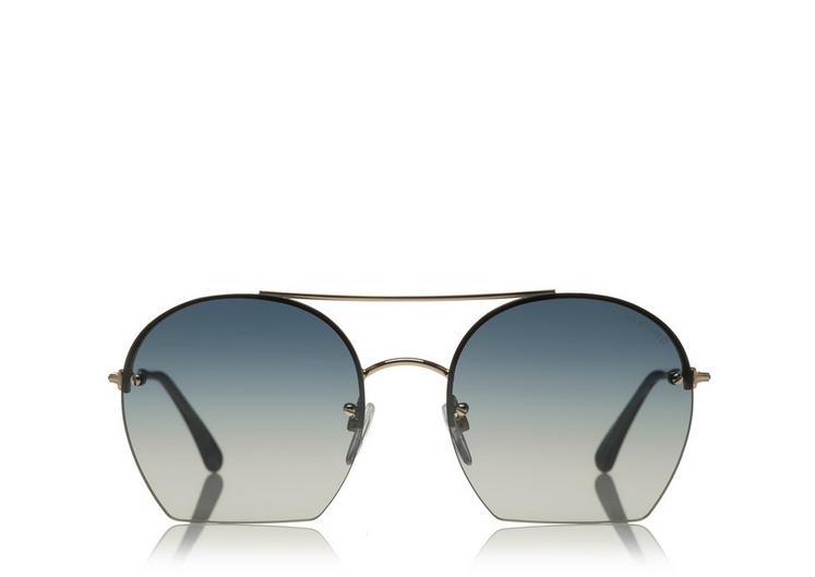4d975e4e7fe Tom Ford Antonia Cutoff Round Sunglasses