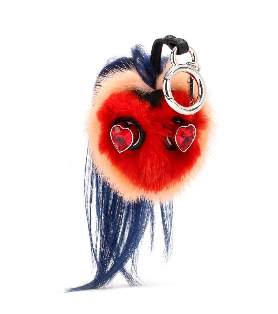 168cfc0b0627 Fendi Bag Bugs Crystal-Embellished Leather And Mink Fur Charm In Multicolour