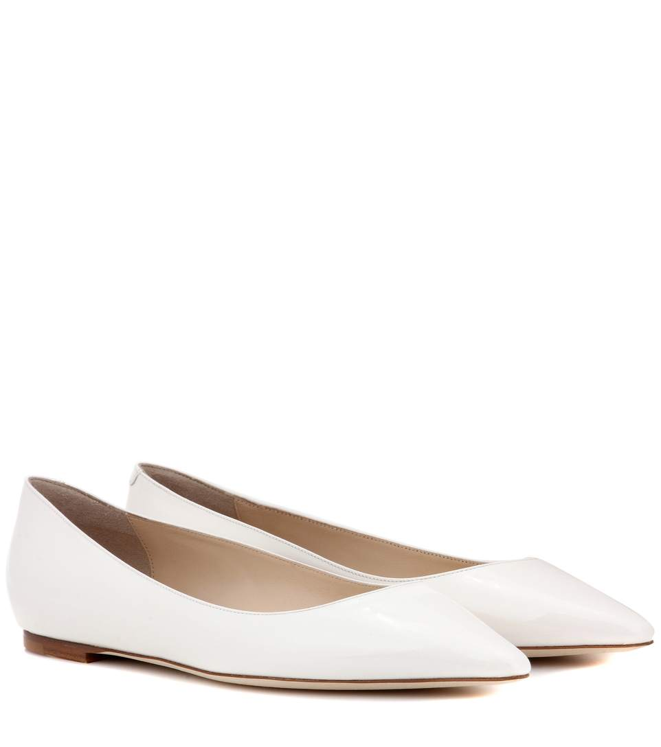 37748fc87c Jimmy Choo Romy Patent-Leather Point-Toe Flats In White | ModeSens