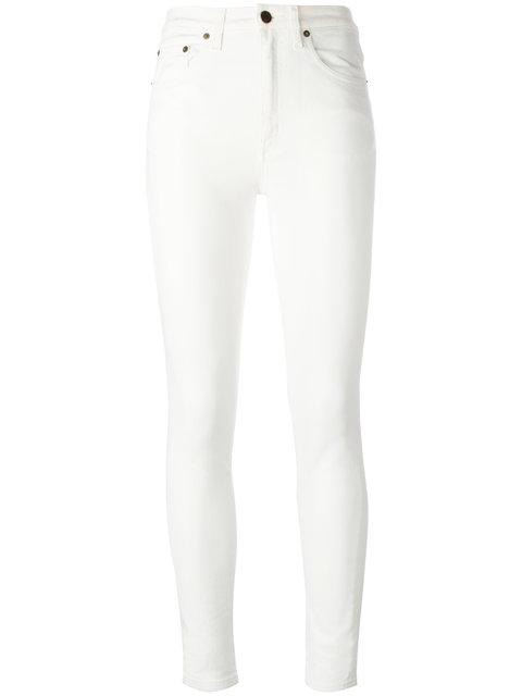 085d06ddd04 Saint Laurent High-Rise Straight-Leg Denim Boyfriend Jeans In White ...